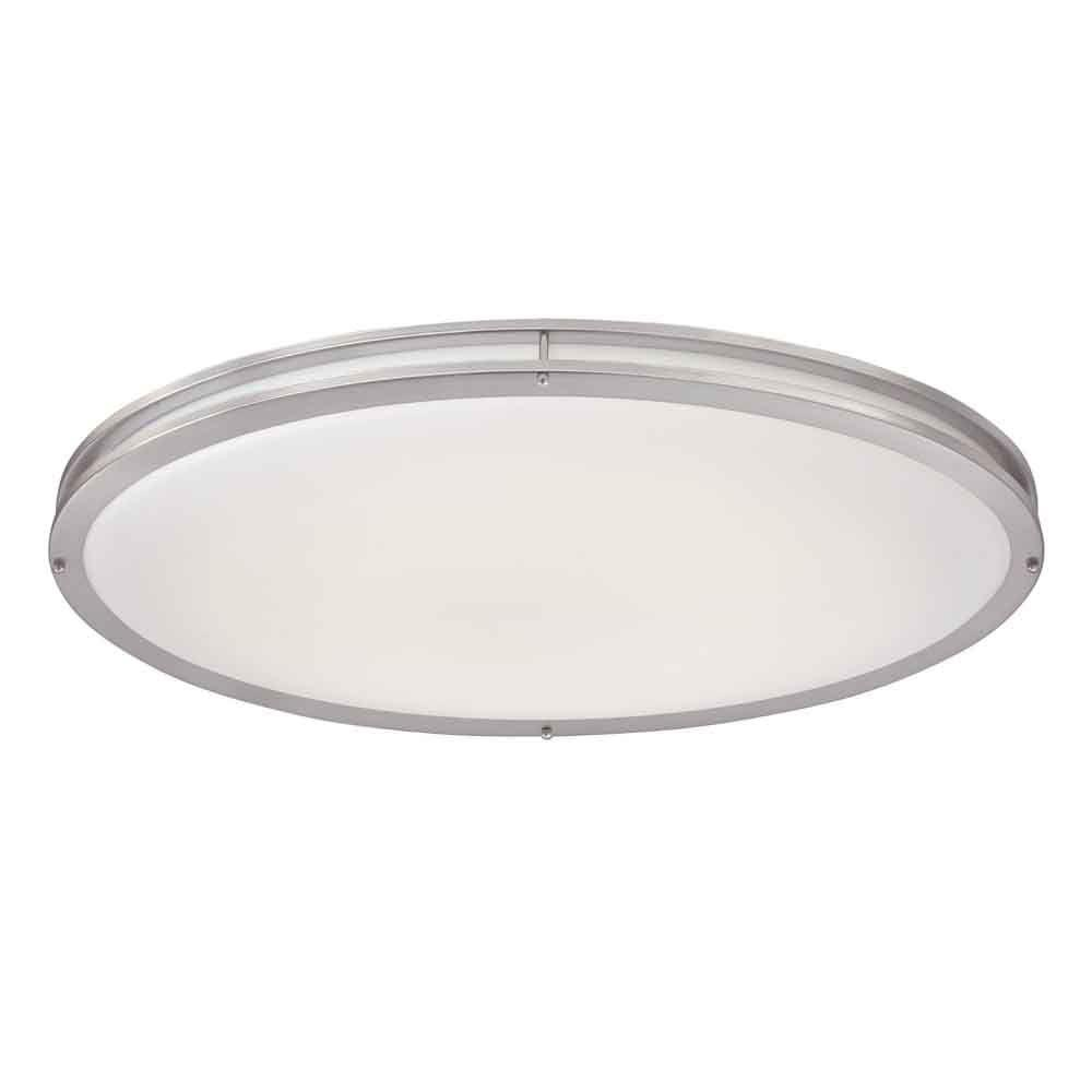 Hampton Bay Brushed Nickel LED Oval Flushmount