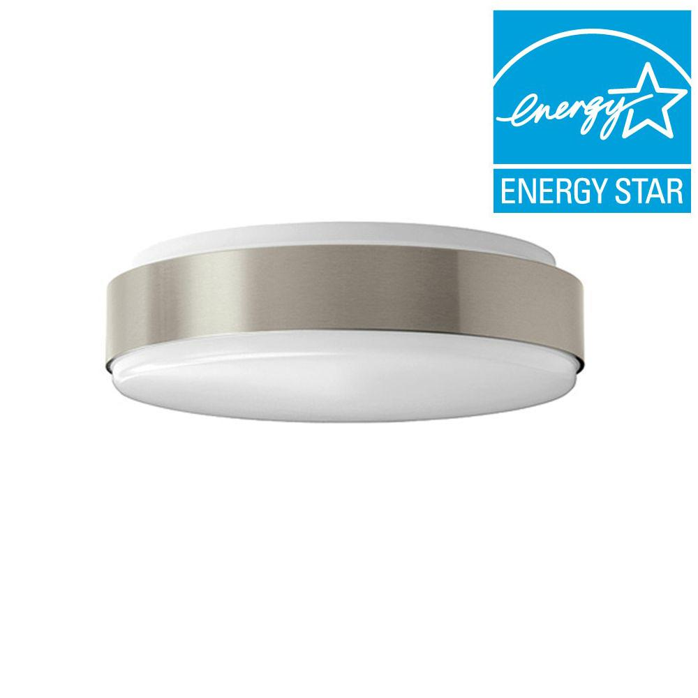Hampton Bay 11 in. Brushed Nickel LED Round Ceiling Flushmount Light
