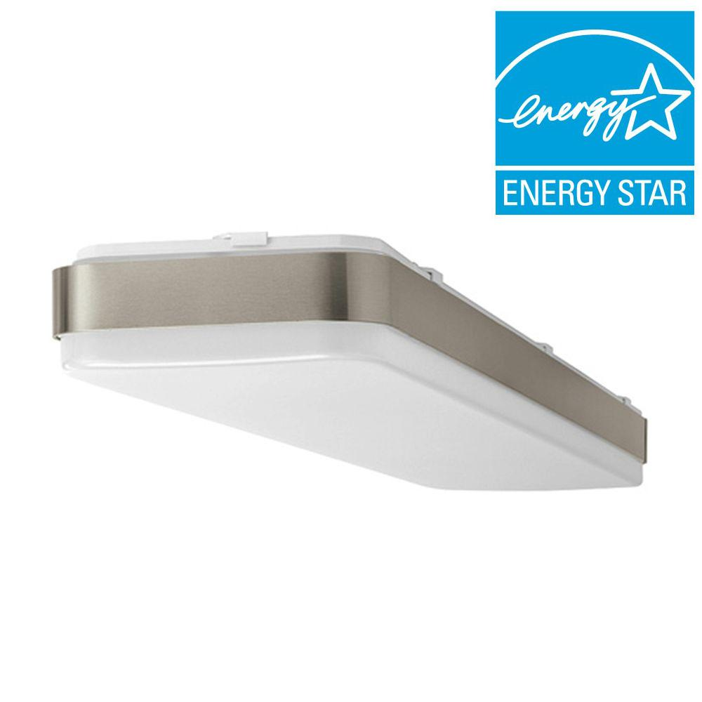 Hampton Bay 4 ft. x 1 ft. Brushed Nickel LED Linear Ceiling Flushmount